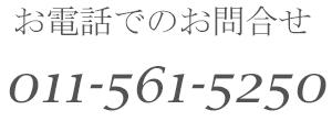 お電話でのお問合せ 011-561-5250